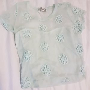 Mesh back powder blue daisy embroidered top